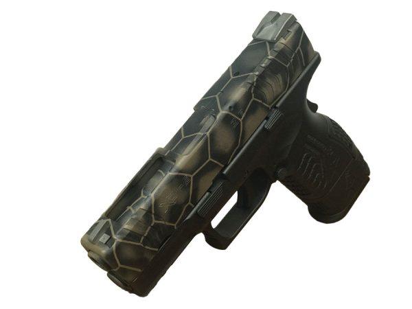 """Cerakote """"3D Hex"""" pattern on pistol"""