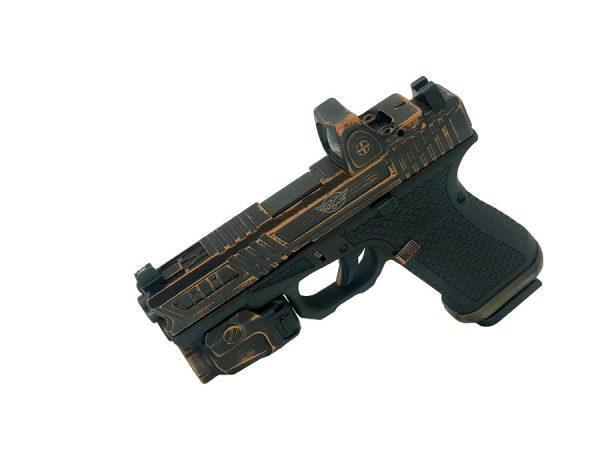 """Cerakote """"Battleworn"""" pattern on pistol"""