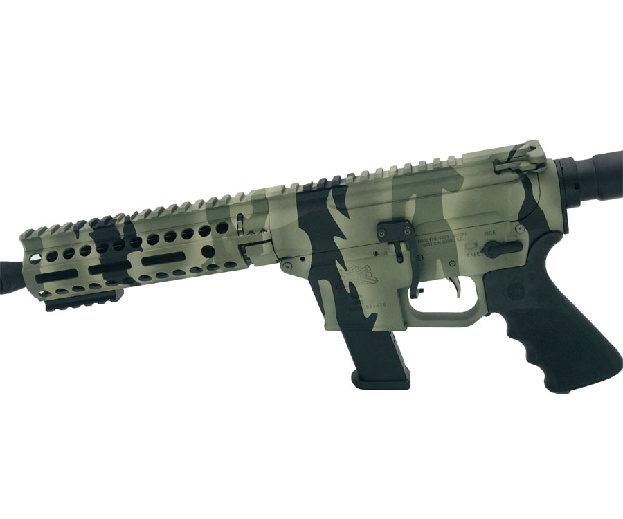 "Cerakote ""tiger stripe camo"" pattern on handguard, upper and lower"